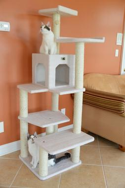 68-in Cat Tree & Condo Scratching Post Tower Ivory Wide Base