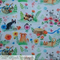 BonEFul Fabric FQ Cotton Quilt White Rainbow Scenic Cat Tige