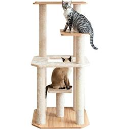 Cat Tree Cat Tower with Scratching Post Laminate Wood and Pl