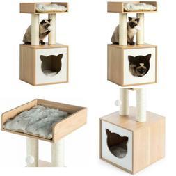 Cat Tree Play House Condo Cube Cave Platform Scratcher Post