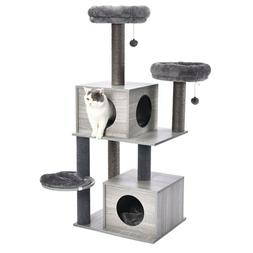 Cat Tree Tower Condo Wood Scratcher with Scratching Post for
